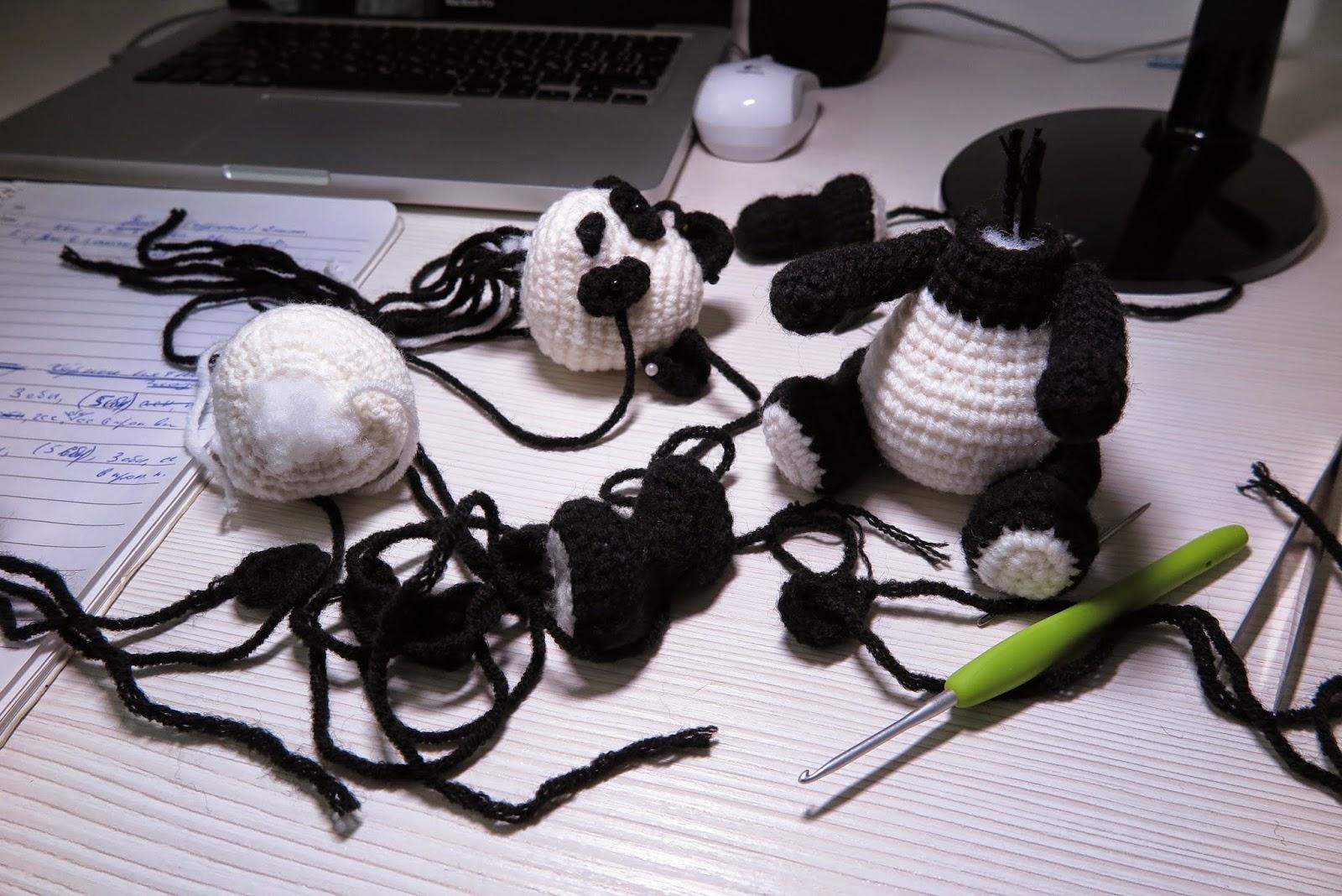 panda pattern amigurumi