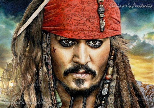 19-Jonny-Depp-Captain-Jack-Sparrow-Corinne-Vuillemin-WIP-Color-Drawings-of-Actors-and-Animals-www-designstack-co
