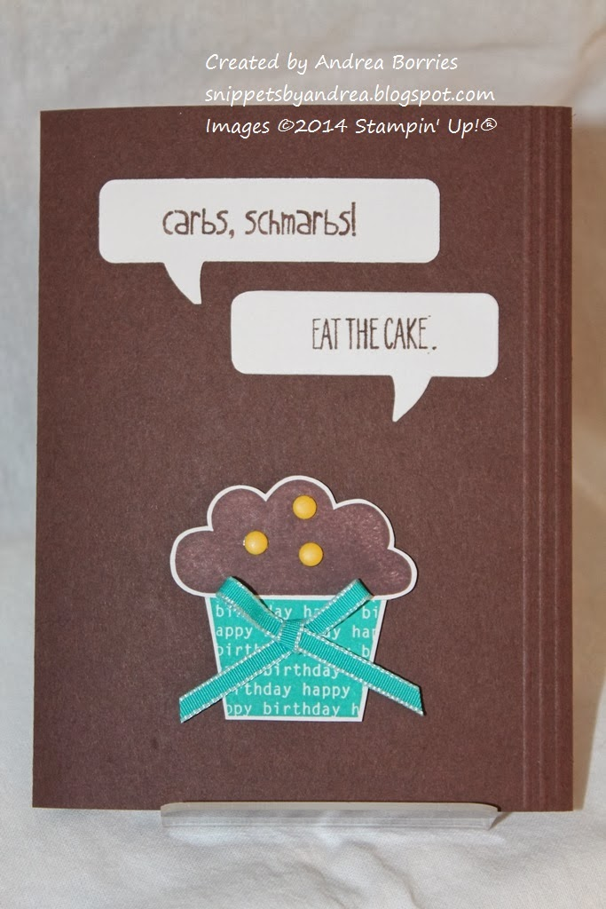 """Brown card with cupcake and two word bubbles: """"Carbs, scharbs!"""" and """"Eat the cake."""""""