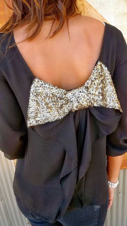 Sparkling Back Bow Chiffon Blouse