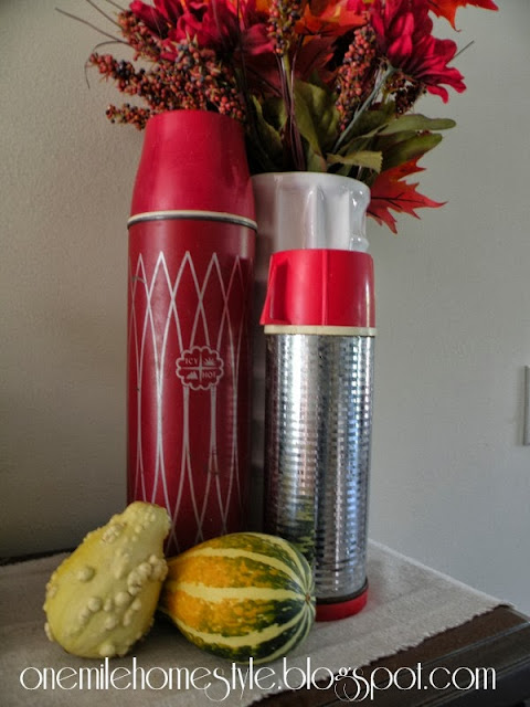 Vintage thermos with fall decor