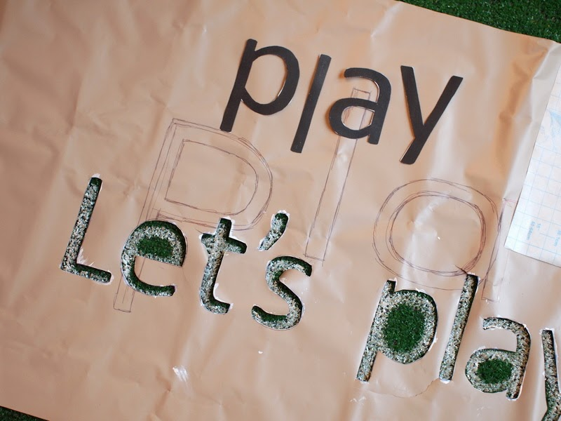 stencil your astro turf rug with craft paint