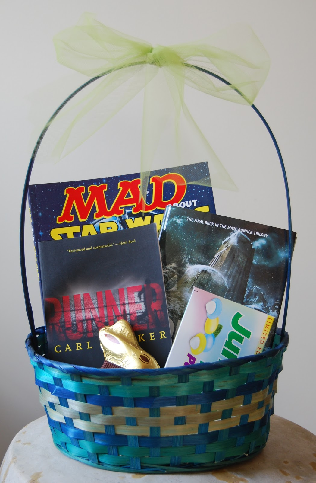One great book easter book baskets basket for my thirteen year old son who would like me to add that he does not believe in the easter bunny negle Images