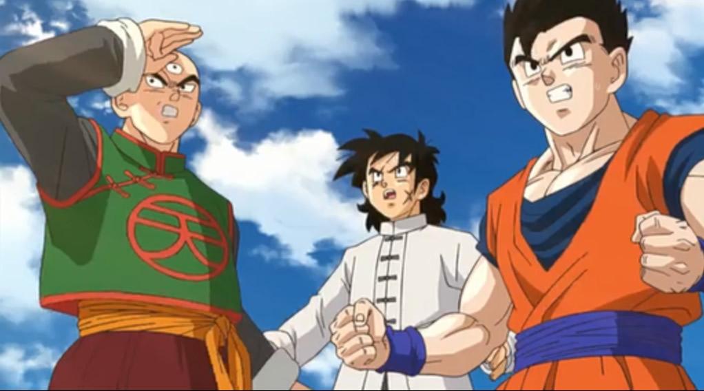 Tenshinhan, Yamcha, Gohan seeing the giant power ball