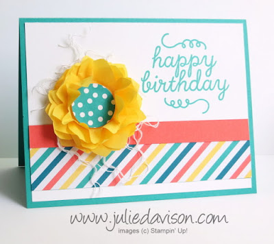 May 2015 Paper Pumpkin Birthday Bundle Bonus project idea + VIDEO tip to create tissue paper flower #stampinup #paperpumpkin www.juliedavison.com