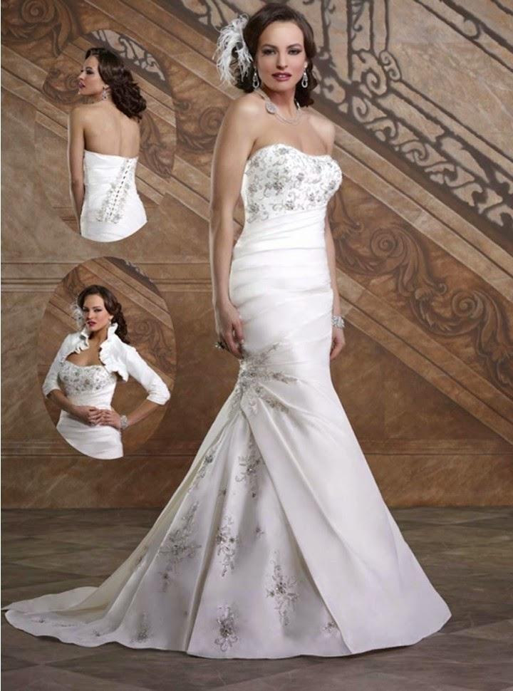 Vestido de Novia Sirena, Strapless, Drapeado y con Flores Bordadas