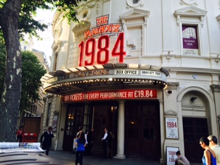 Pic of the front of the Playhouse Theatre, displaying 1984 sign and ticket price £19.84
