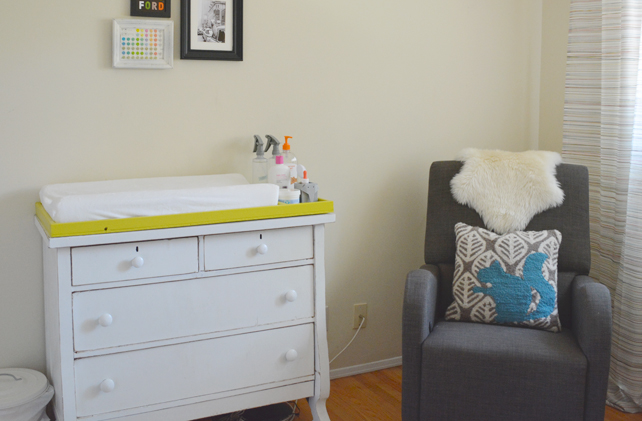 Ford's Baby Boy Nursery Changing Table and Glider - Interior Design by Lesley Myrick, Pasadena Interior Designer