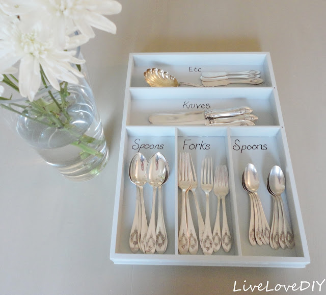 DIY Tip: paint and label an old wooden silverware organizer for a fun new look!