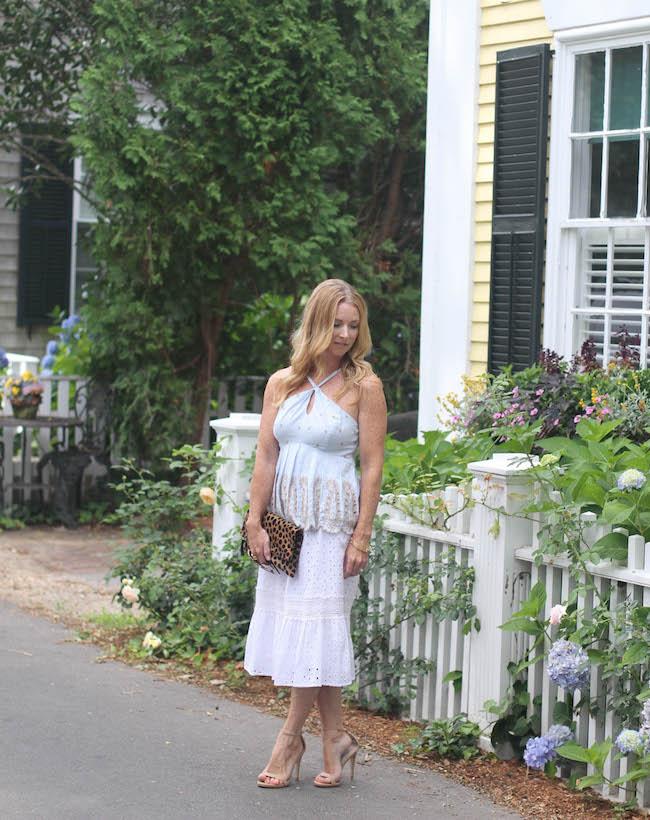 anthropologie top, white lace skirt, steve madden heels, clare v clutch, elizabeth & james sunglasses, julie vos bracelet