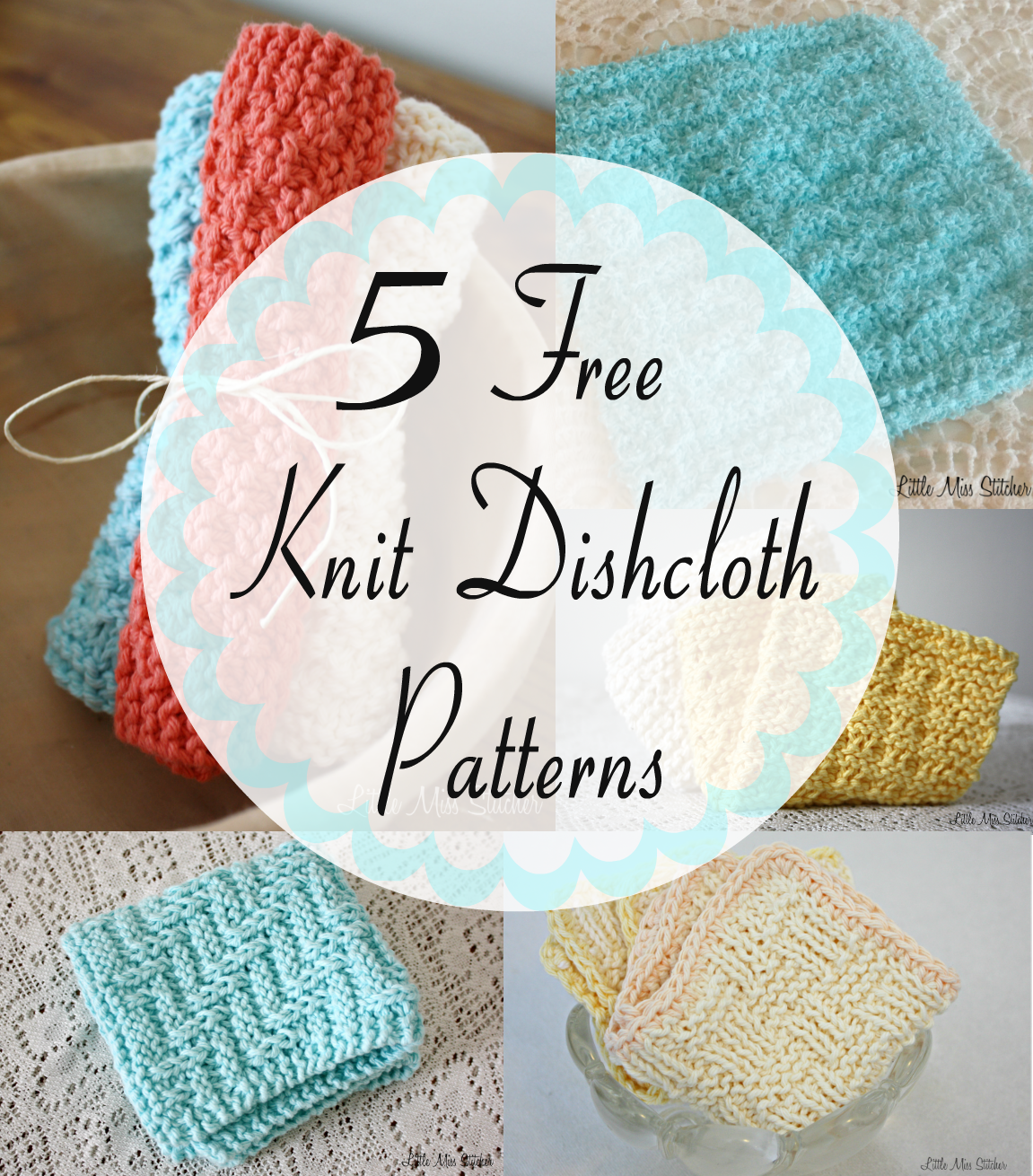 How To Knit Dishcloths Free Patterns : Little Miss Stitcher: 5 Free Knit Dishcloth Patterns