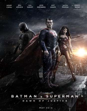 Poster Of Batman v Superman Dawn of Justice 2016 Dual Audio  300MB    - THEATRICAL Free Download Watch Online Worldfree4u