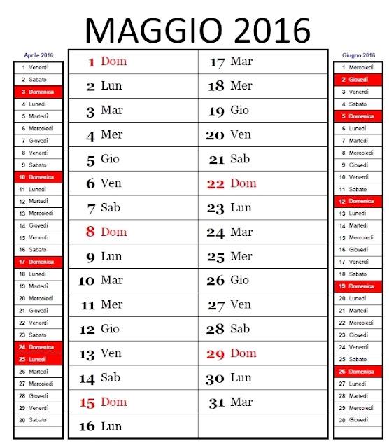 Calendario mensile 2016 - maggio