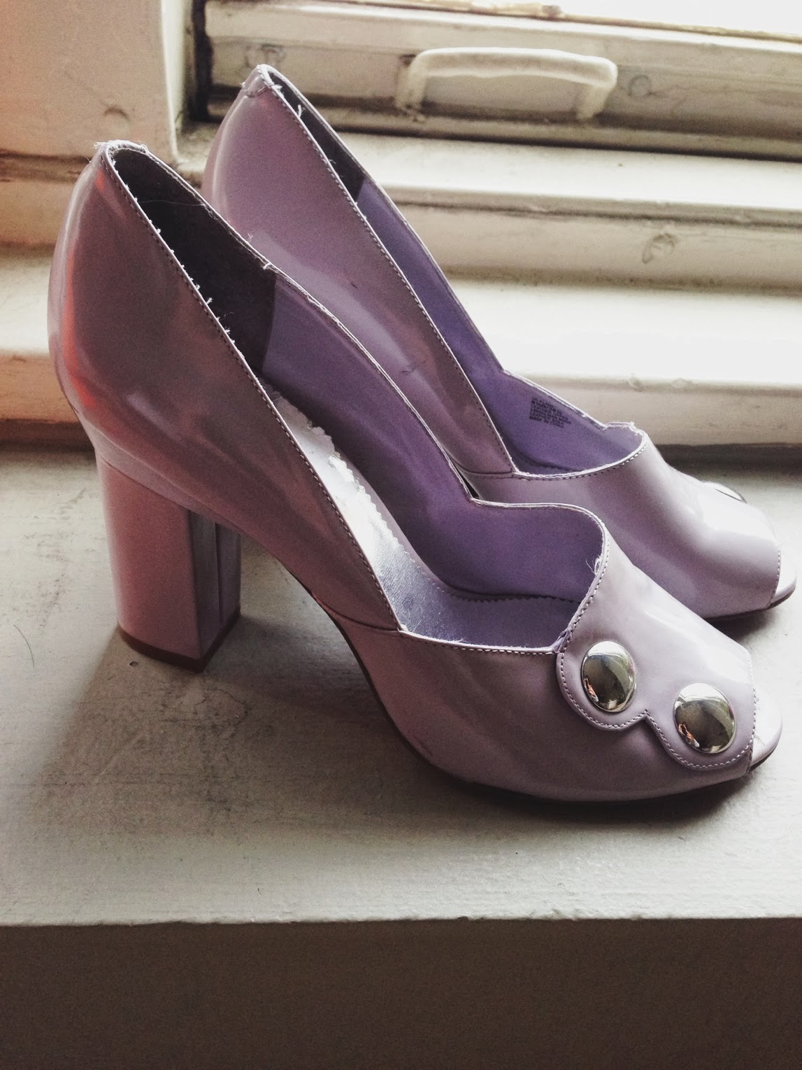 pumps, vince camuto, purple, lavender, cute, mid-heel, block heel, dressy, vintage, shopping, inspiration, scallop, silver, 2013, 2014