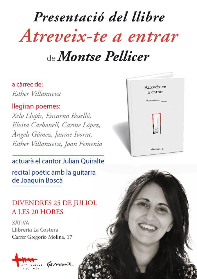 """PRESENTACIÓ DEL LLIBRE """"ATREVEIX-TE A ENTRAR"""" de Montse Pellicer Mateu"""