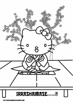 japanese hello kitty coloring pages - photo#3