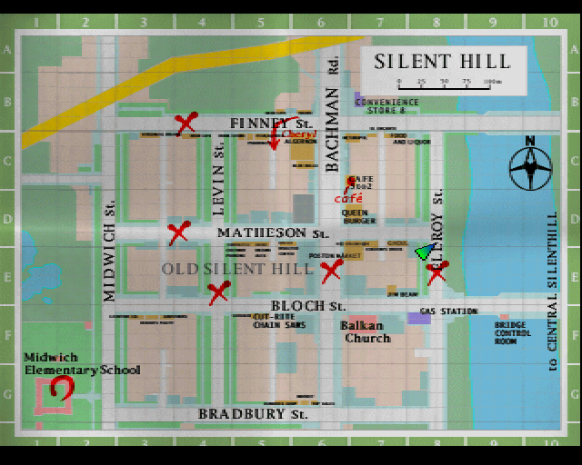 Old Silent Hill street map screen