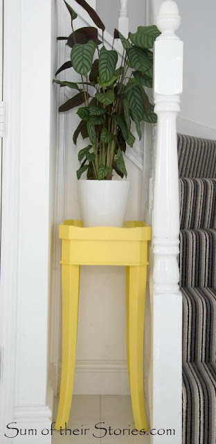 old end table makeover with yellow spray paint
