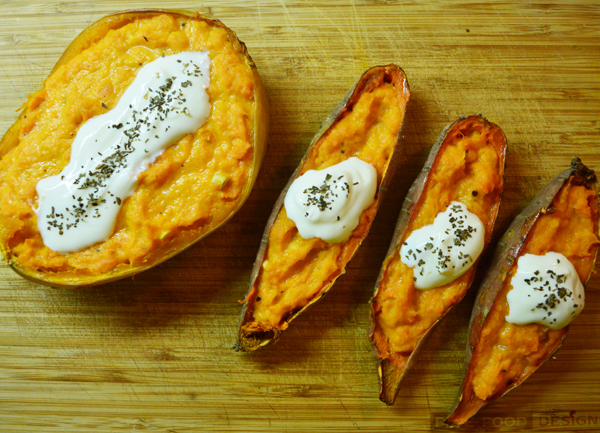 twice baked squash and sweet potatoes with Spanish cheese