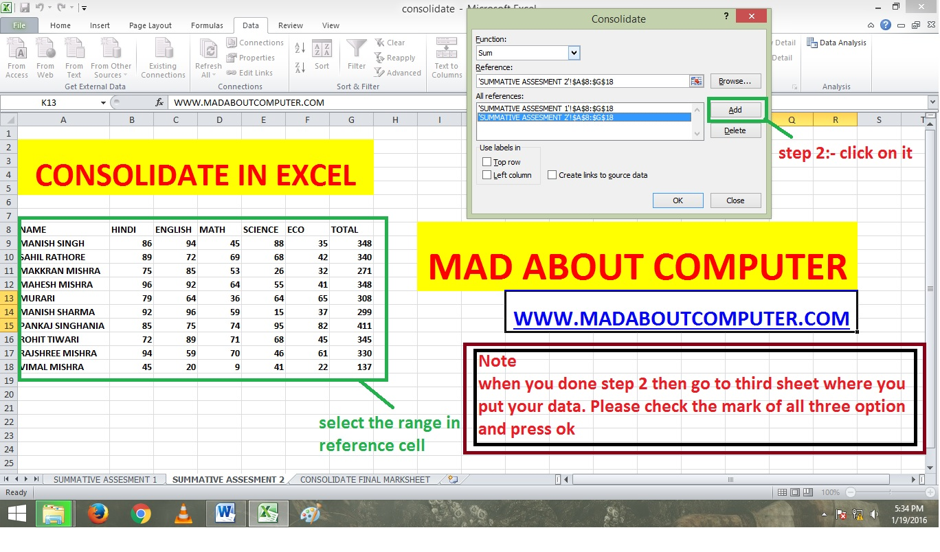Worksheets Combine Worksheets In Excel basic consolidate in excel by using position mad about computer