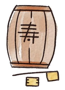 鏡開きの樽・柄杓・升のイラスト(お正月)