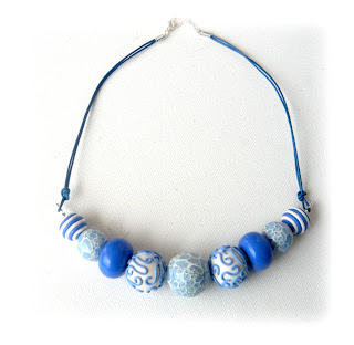 China Blue Millefiori Thong Necklace, Polymer Clay