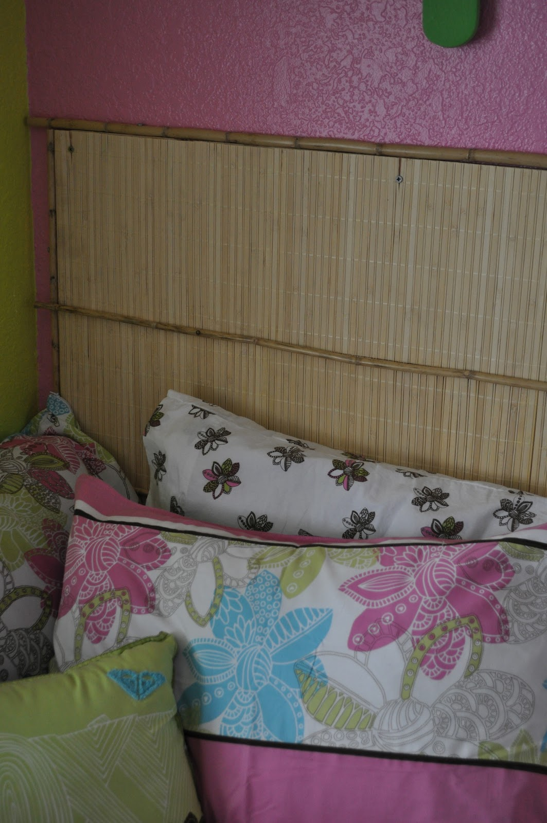 Roxy bedding samantha - My Husband Made The Headboard It S Just Plywood With Some Bamboo Sticks Framing It I Found Bamboo Placemats In The Dollar Section At Target And We Glued