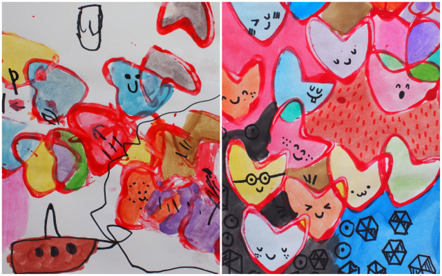 Colorful Stamp and Paint Heart Art- Fun Valentine's Day Process Art for kids