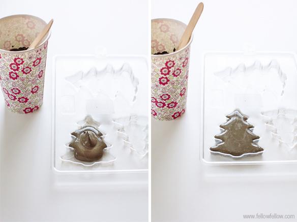 Proceso para hacer adornos navideños de cemento
