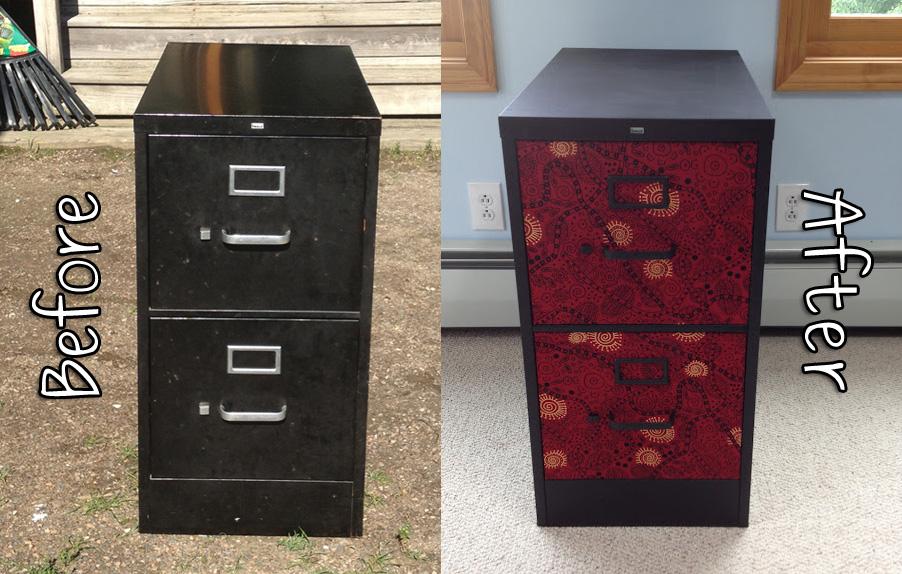 quardecor: fancy file cabinet fix: tribal red & black fabric