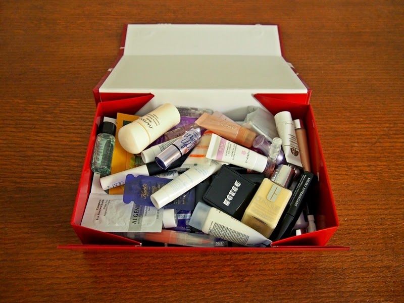 box of sample beauty products