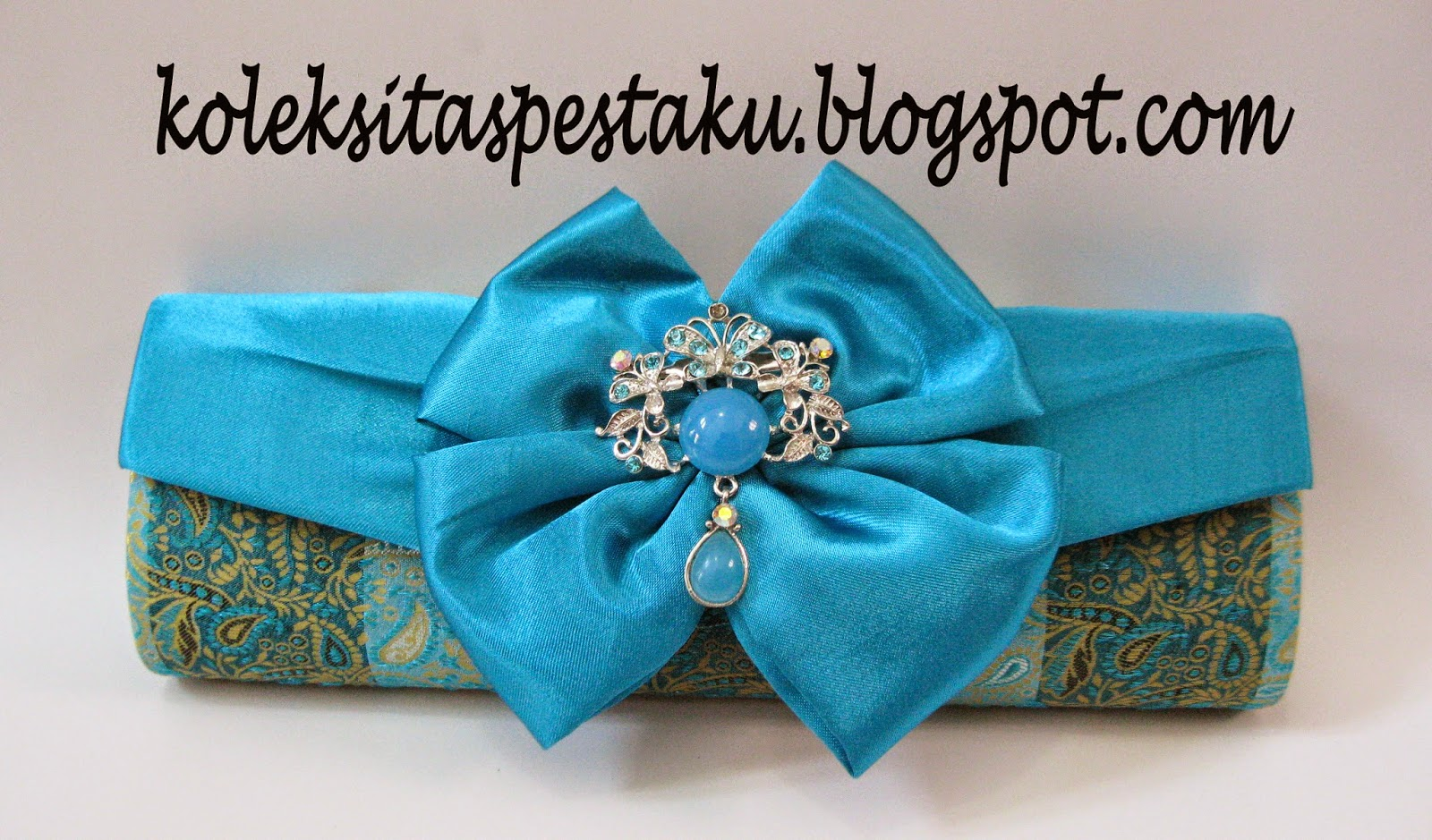 Tas Pesta Clutch Bag Sari India Biru Tosca