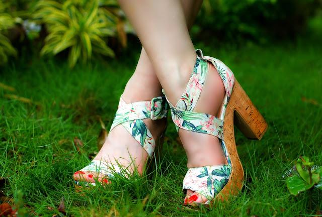 H&M Tropical Print Block Heel Shoes