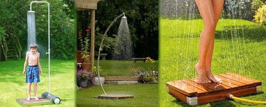Jardin con ducha o manguera verde jard n for Aspersores de riego para jardin