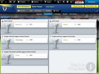 Football Manager Classic honours screen