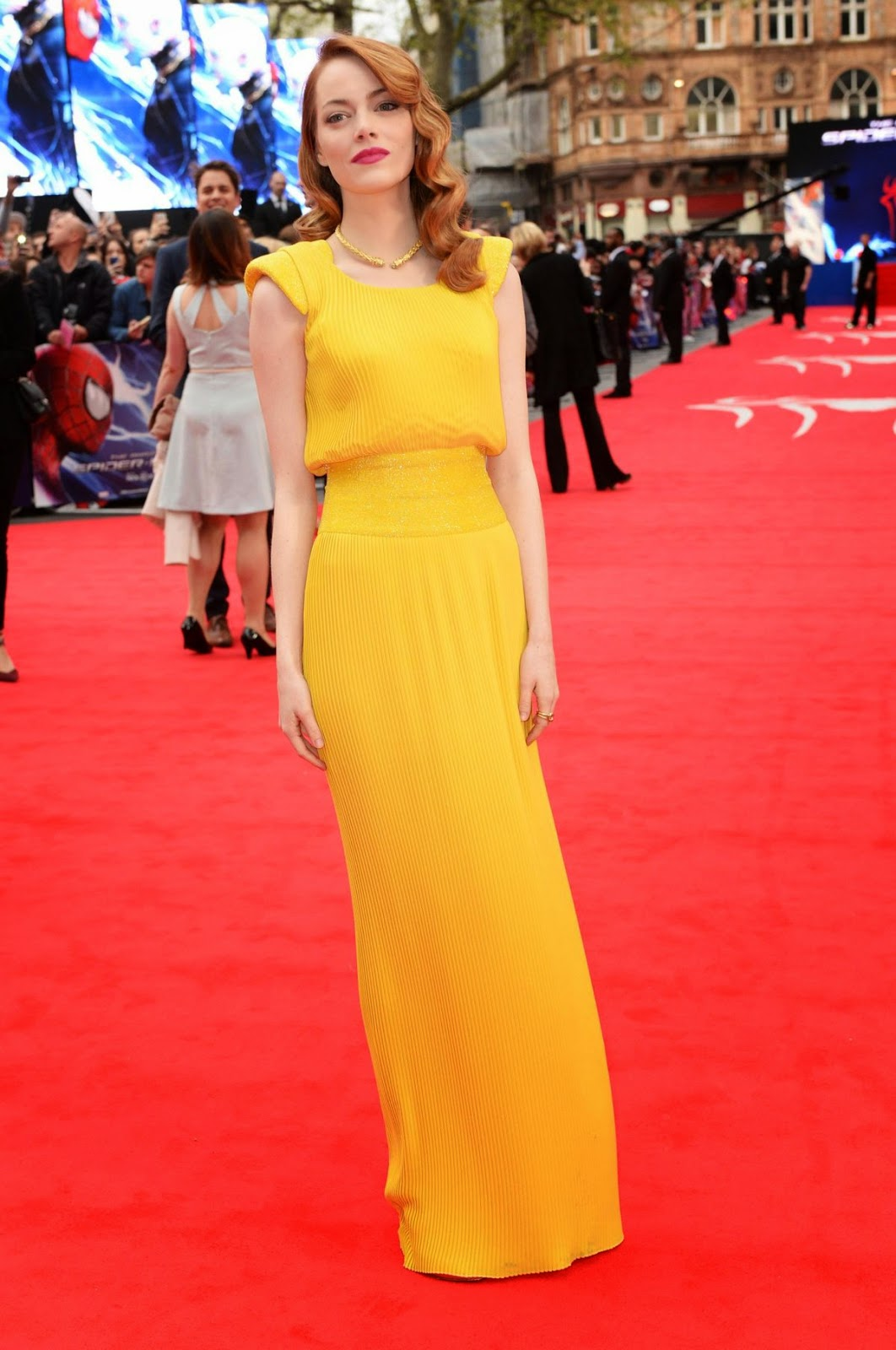 Emma Stone stuns in yellow Atelier Versace at 'The Amazing Spider Man 2' World Premiere