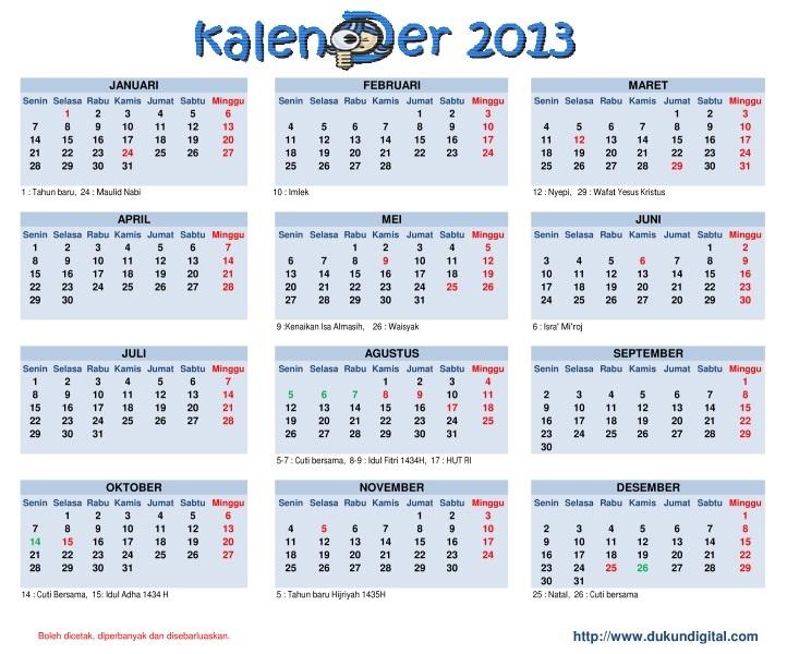 Kalender 2013 Dengan Libur Nasional