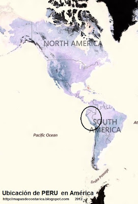 Ubicación de PERU en América, vista aérea, BING