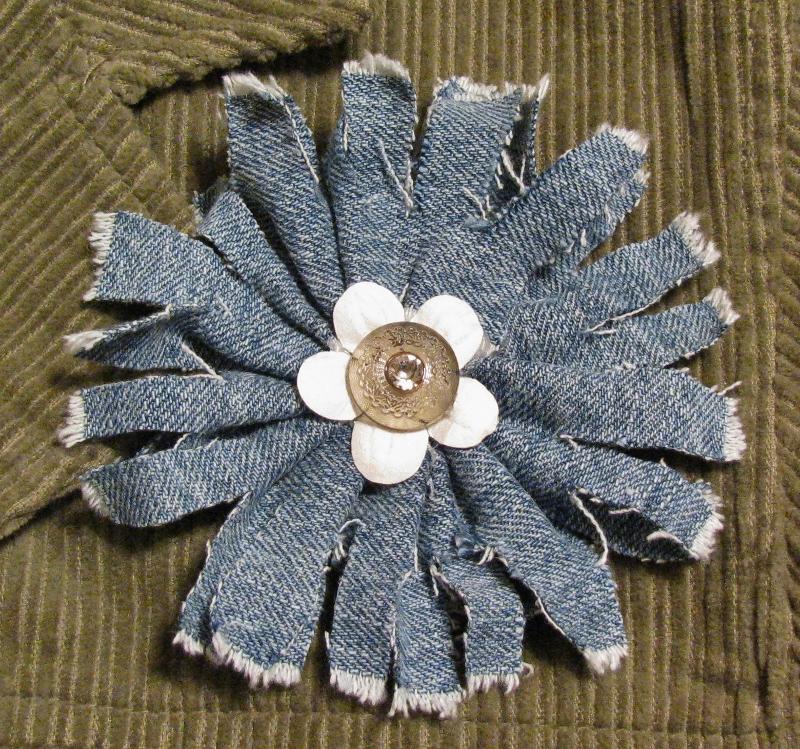 Цветы из джинсовой ткани идеи мастер