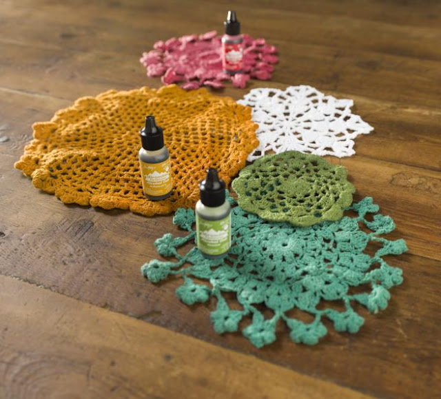 Doily Transformation @craftsavy, #craftwarehouse, #doiley, #alcoholink, #timholtz