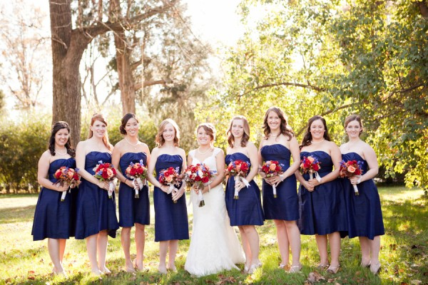 Flowers with navy bridesmaid dresses weddingbee for Navy dress for fall wedding