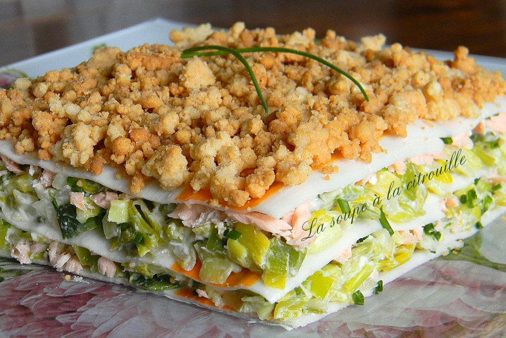la soupe 224 la citrouille lasagnes de surimi au saumon et aux poireaux