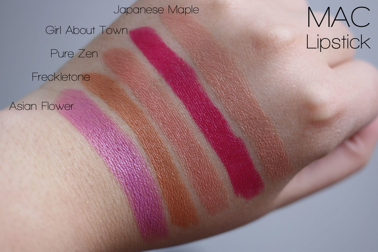 MAC Lipstick Swatches in Pure Zen, Japanese Maple, Freckletone, Asian Flower, Girl About Town