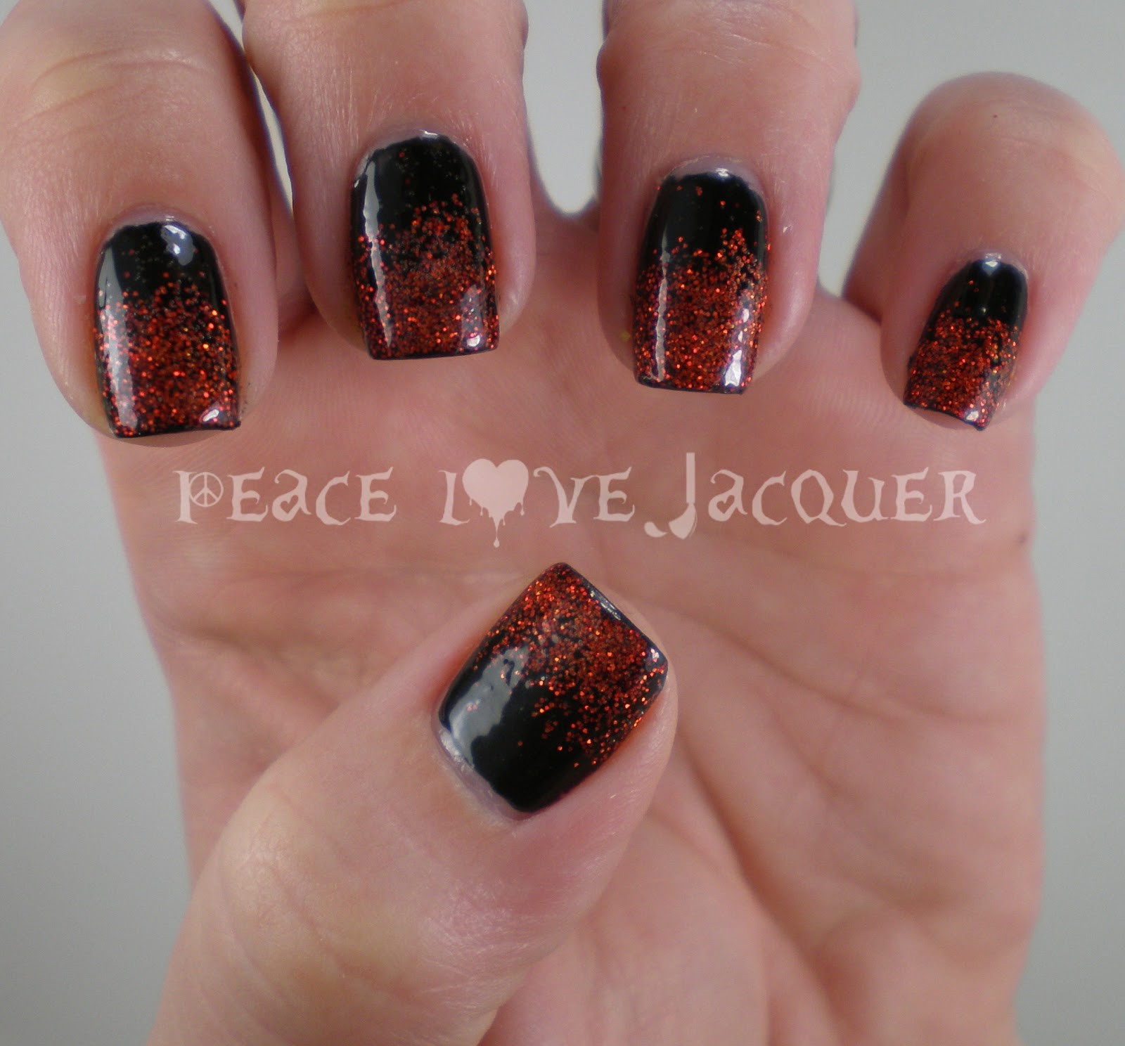 Gradient Nail Art: Peace Love Lacquer: Red Glitter Gradient Nail Art