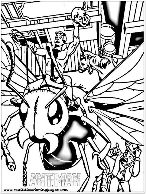 Ant Man and flying ant coloring kids