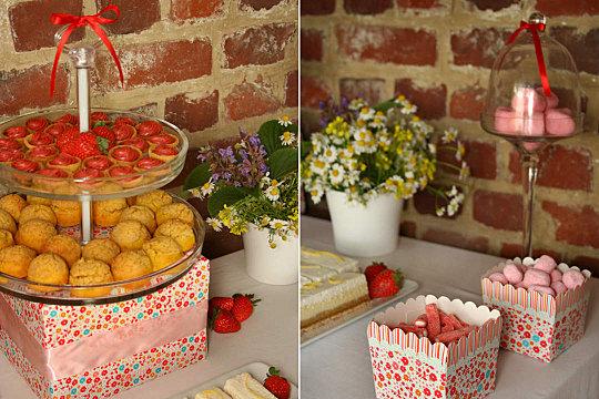 présentoir et pot à bonbons fleuri