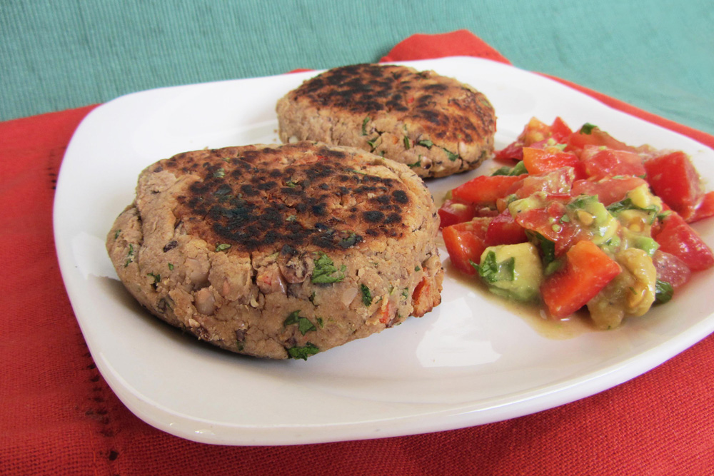black eyed pea patties with salsa