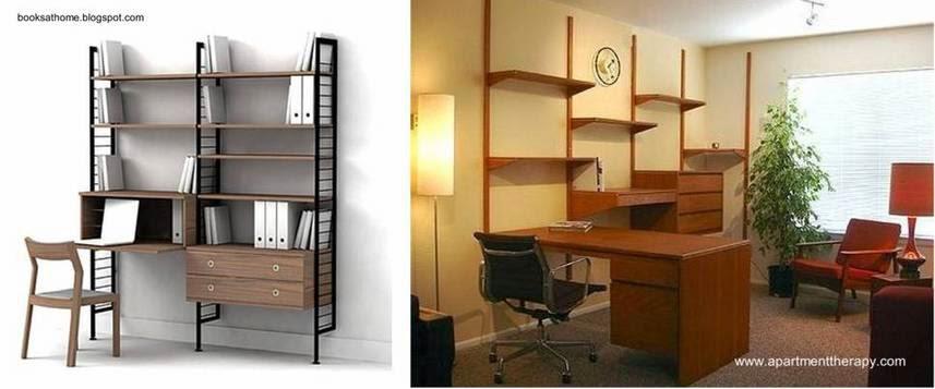 Par de estanterías con escritorios para el hogar