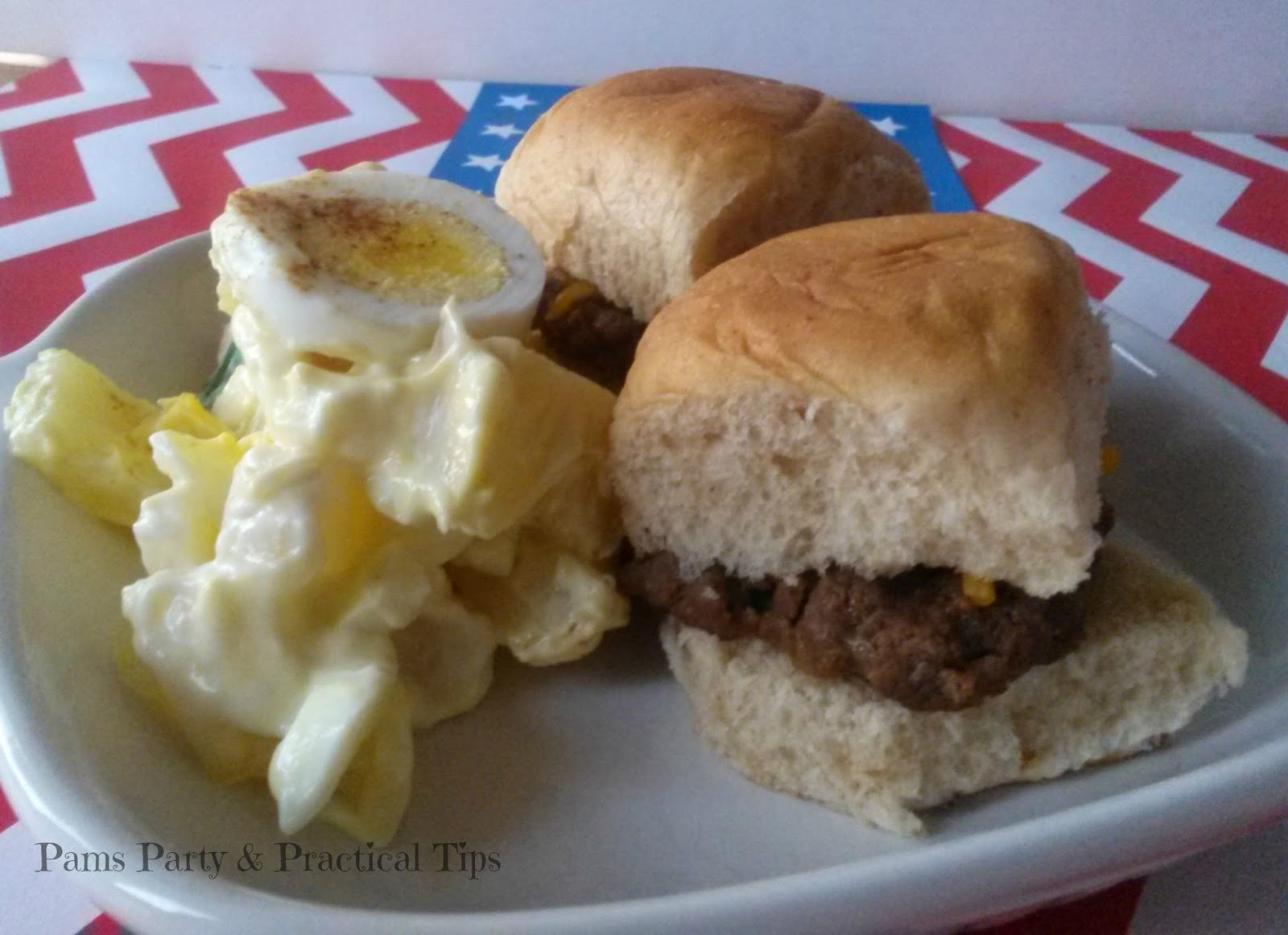 Cheesy BBQ Sliders, Homemade Potato Salad, Egg Potato Salad