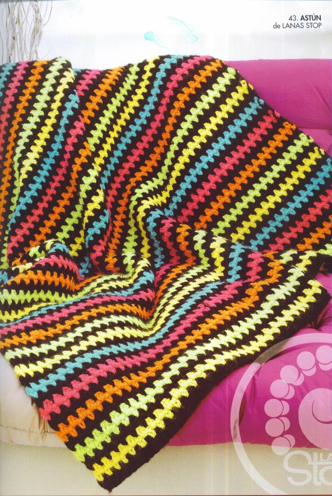 Patrones asgaya manta a rayas a crochet - Mantas de crochet a cuadros ...